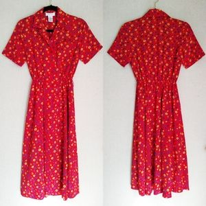 Vintage Talbots Red Floral Maxi Dress Size 2P